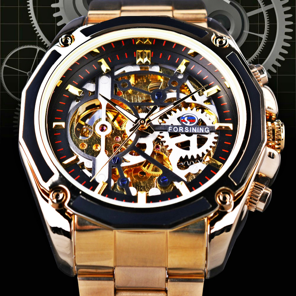FORSINING Mens Watches Military Army Sport Clock Male Top Brand Luxury Skeleton Clock Transparent Automatic Mechanical Men Watch forsining 2017 dragon series transparent silver case mens watches top brand luxury mechanical skeleton watch male wrist watches