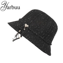 YARBUU fedora hat for women high quality summer hats with Sequins Solid color and black Casual sun cap Noble hat free shipping