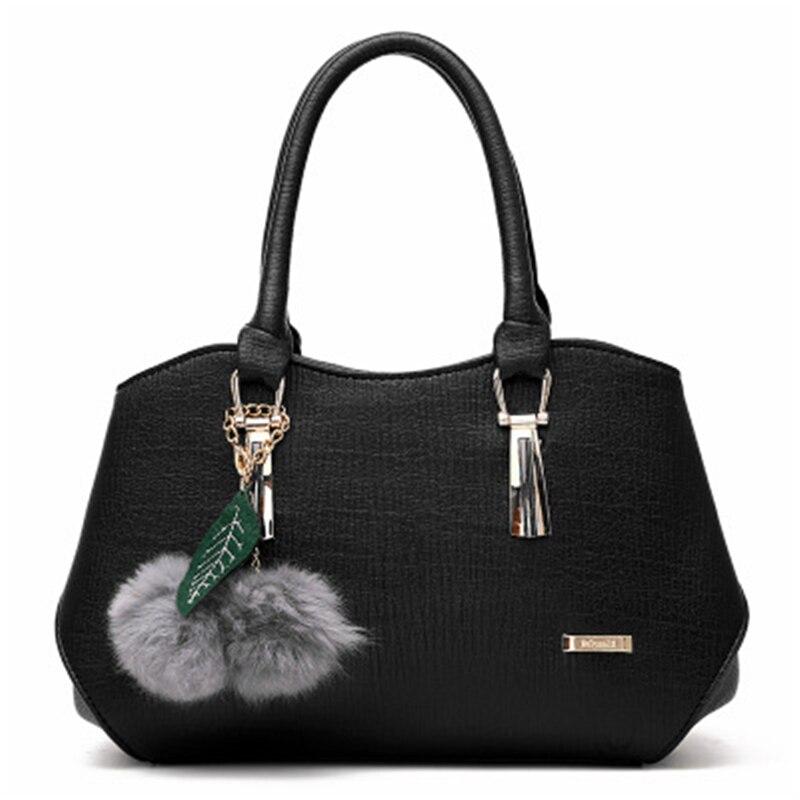 Bags Women Leather Handbags 2019 Luxury Ladies Hand Bags Purse Fashion Shoulder Bags Hanging Hair Ball Pu Leather Big