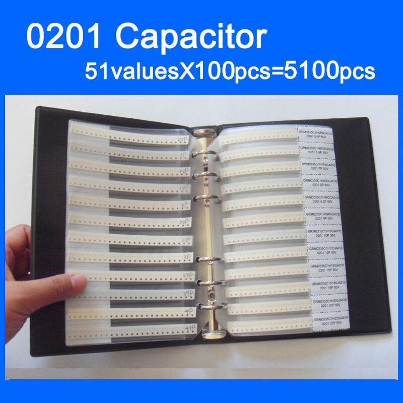 Бесплатная доставка 0201 smd конденсатор книга образца 51valuesX100pcs = 5100 шт. 0.5PF ~ 220NF конденсатор Ассортимент Комплект обновления