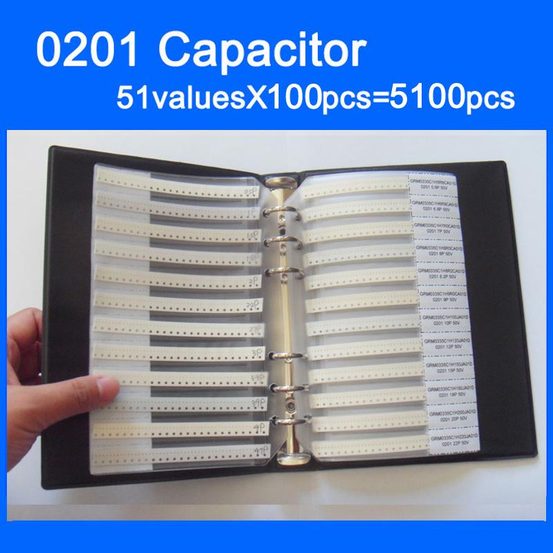 0201 SMD конденсатор, книга для образцов, 51valuesx100шт = 5100 шт, 0.5PF ~ 220NF набор различных конденсаторов в упаковке, бесплатная доставка
