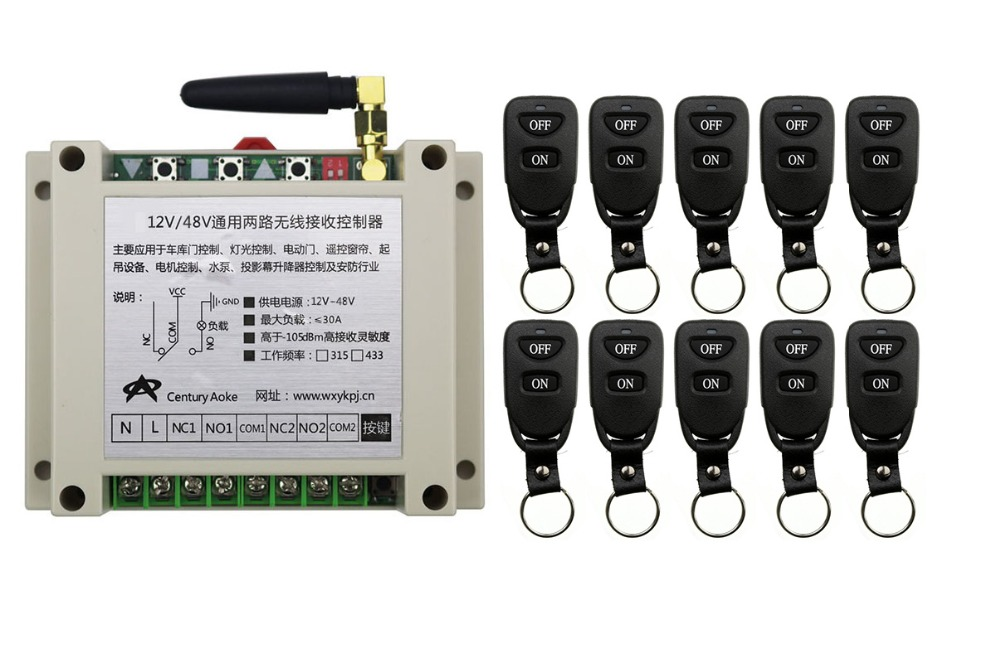 ФОТО New DC12V 24V 36V 48V 10A 2CH Remote Control Light Switch Relay Output Radio Receiver Module and 10 pcs Belt buckle Transmitter
