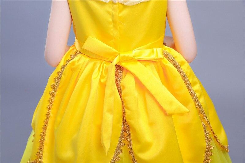 7d9e5bc226 2017 nueva película belleza y la Bestia Belle princesa vestido amarillo  Cosplay Día de los niños vestido del funcionamiento del traje ropa 10 año  en ...