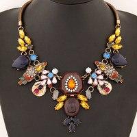 Nouveau Collier de Foulard De Mode Pour femmes 2017 Vintage Collier serpent Chaîne Grand Cristal Fleurs Colliers et Pendentifs Bijoux Déclaration