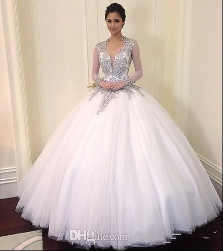 2017 Bead Crystal Long Sleeve Lace Wedding Dresses Ball Gown Plus