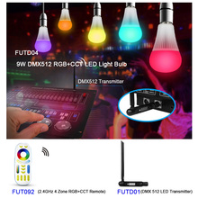FUTD04 E27 DMX512 9W RGB+CCT LED Light Bulb;DMX 512 LED Transmitter ;2.4GHz 4 Zone RGB+CCT wireless Remote dmx compitable high power 9w led rgb spotlight with spike outdoor used edison chip 2 year warranty ds 07 1 9w rgb 12v dc