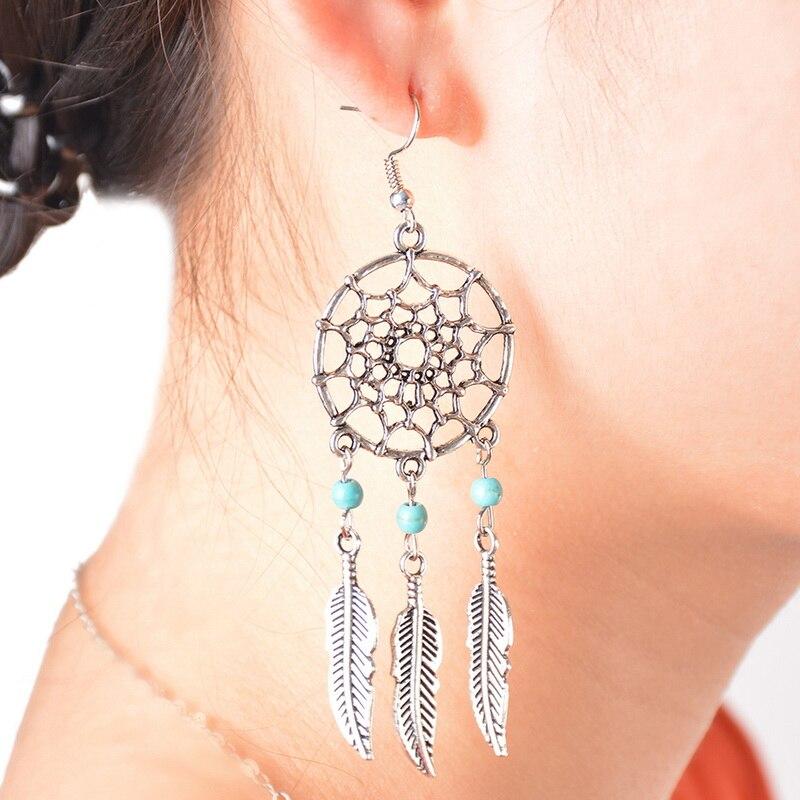 Lasperal Boho Earrings Women Beads Drop Feather Tel Silver Tone In From Jewelry Accessories On Aliexpress Alibaba