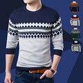 Otoño nuevos modelos de moda casual de cuello redondo de manga larga suéteres de la ropa de jersey de los hombres hombres de la capa delgada