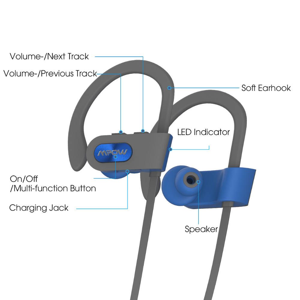 Mpow Flame Bluetooth 4.1 IPX7 Waterproof Headphone Noise Cancelling Headset Built-in Mic Ear Hook For Phone iPhone Huawei Xiaomi