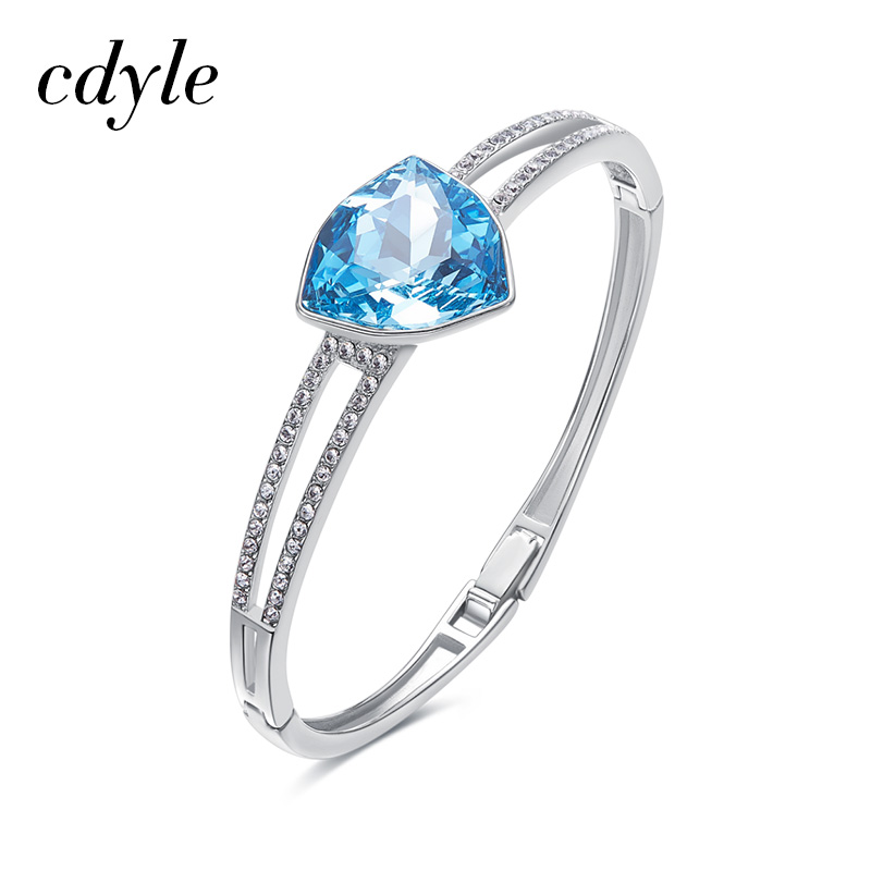 Cdyle Bracelets & Bangles For Women Austrian Rhinestone Bijoux S925 Sterling Silver Fashion Jewelry Elegant Blue Yellow Bracelet elegant embossed rhinestone bracelet for women