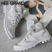 HEE GRAND 2019 Women Autumn Fashion Ankle Boots with Lace-up Casual Canvas Solid Ankle Boots Sneakers Shoes Mujer Booten XWF662