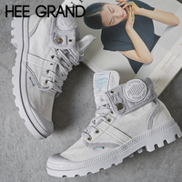 HEE GRAND 2018 Women Autumn Fashion Ankle Boots with Lace up Casual Canvas Solid Ankle Boots Sneakers Shoes Mujer Booten XWF662