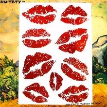 Nu-TATY Sexy Red Lips Temporary Tattoo Body Art Flash Tattoo Stickers 17*10cm Waterproof Fake Tatoo Car Styling Wall Sticker