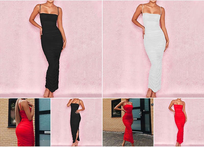 Sibybo Mesh Transparent Split Sexy Long Dress Party Spaghetti Strap Sleeveless Maxi Dress Summer Backless Bodycon Dress Women 7