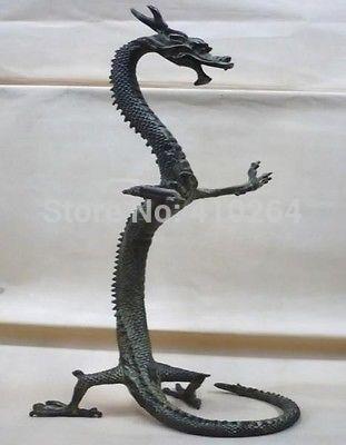 [Vieux artisanat] figurines de statue de dragon chinois en bronze exquis (A0314)