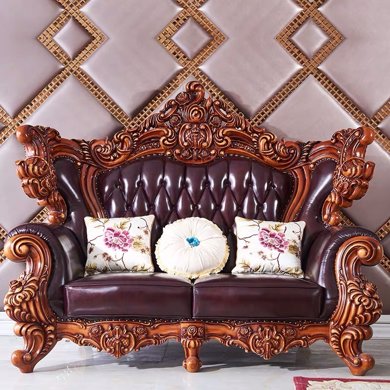 top luxury European and American style solid wood genuine leather sofa set living room furniture 3
