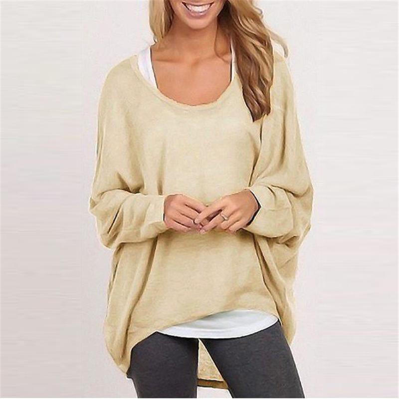 0d8ab4a5e948 9 Colors Fashion Spring Autumn Women Blouse Pullover Batwing Sleeve Casual  Loose Solid Shirt Tops Plus Size Camisas Mujer Female