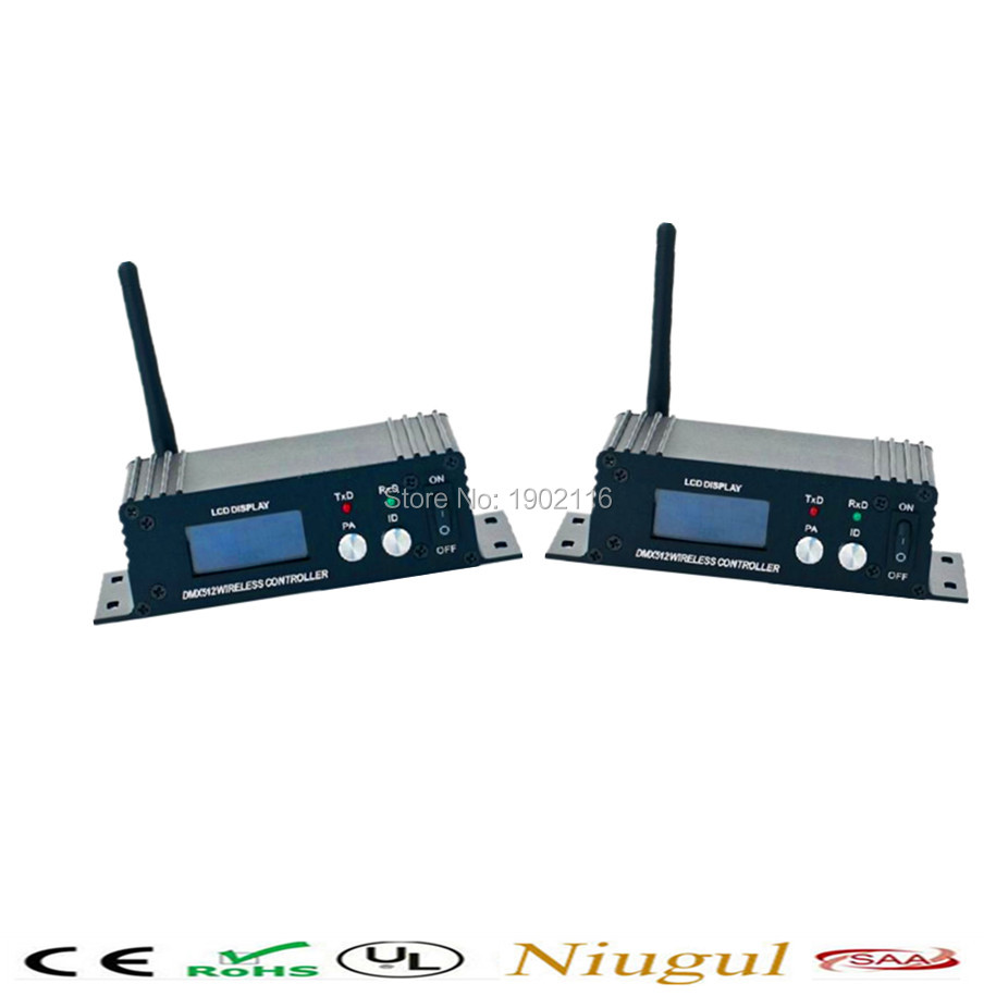 Niugul 2pcs/lot LCD Wireless DMX512 Receiver/Transmitter Controller 2.4G wireless DMX512 Lighting Controller LED stage Lights lcd wireless dmx512 receiver