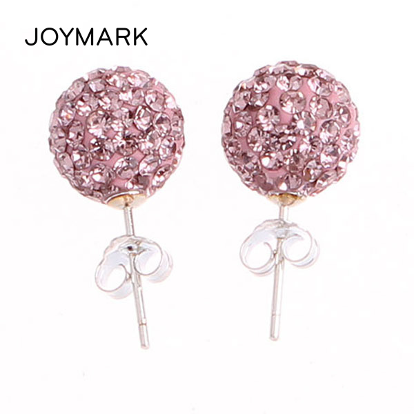f13167fb8 16 Colors Austrian Crystal Rhinestones Pave 10mm Disco Ball Bead Authentic  925 Sterling Silver Stud Earrings SSCE016-in Stud Earrings from Jewelry ...