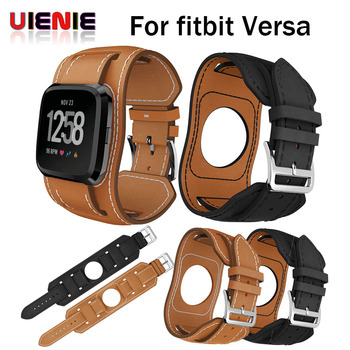 Premium Sweatproof Leather Wristband Strap Replacement For Fitbit Versa Smart Watch Bracelet Band Loop For Fitbit Versa 2