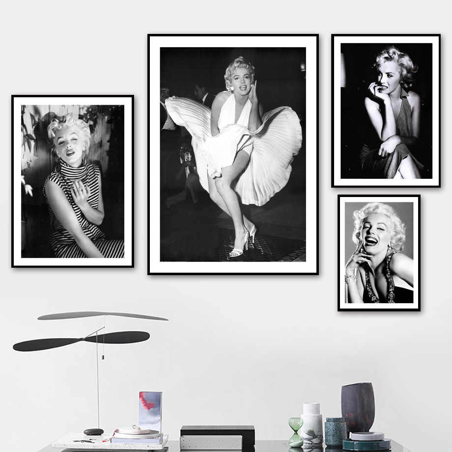Hollywood Star Marilyn Monroe Figure Wall Art Canvas Painting Posters And Prints Vintage Poster Wall Pictures For Living Room