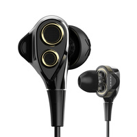 Hot Selling Double Moving Coil Hifi Bass Earphones With Mic Noise Reduction Volume Control Hifi Earbuds