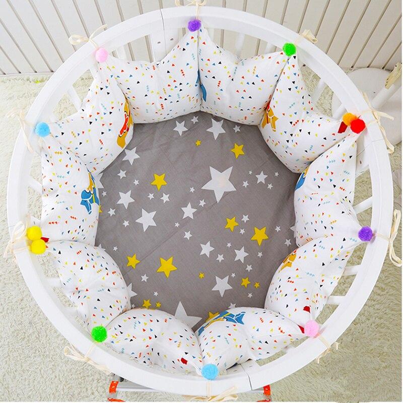 5 pièces/ensemble Style nordique rond/Rectangle/ovale forme bébé berceau pare-chocs confortable bébé literie ensemble coton bébé lit pare-chocs drap de lit