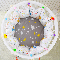 5pcs/set Nordic Style Round/Rectangle/Oval Shape Baby Crib Bumpers Cozy Baby Bedding Set Cotton Baby Cot Bumpers Bed Sheet