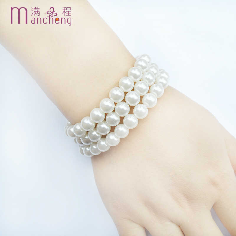 3PCS / sets classic 8MM white Imitation pearl beads bracelet &bangle jewelry,Rope chain strand 8MM pearl bracelet for women 2019