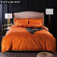 TUTUBIRD Solid Natural Egyptian Cotton bed linen Yellow Orange bedding set long staped bedclothes 4pcs Hometextile