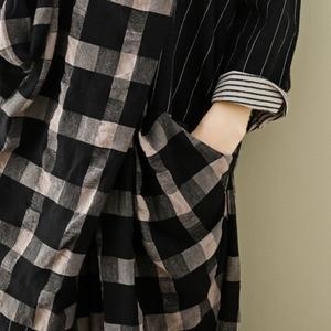 Image 5 - LANMREM 2020 Spring New Casual Fashion Literary Women Loose Plus Chest Cross Long Plaid Cotton And Linen Dress TC399