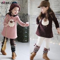 2 3 4 5 6 7 8 Year Girls Dress 2019 Autumn Winter Kids Dresses for Girls Velvet Long Sleeve Hooded Thick Warm Children Clothes