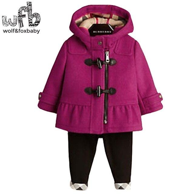 Розничная 2-8 лет пальто Рог кнопки Плюс бархатные полная рукава сплошной цвет с капюшоном дети детская одежда весна осень осень-зима