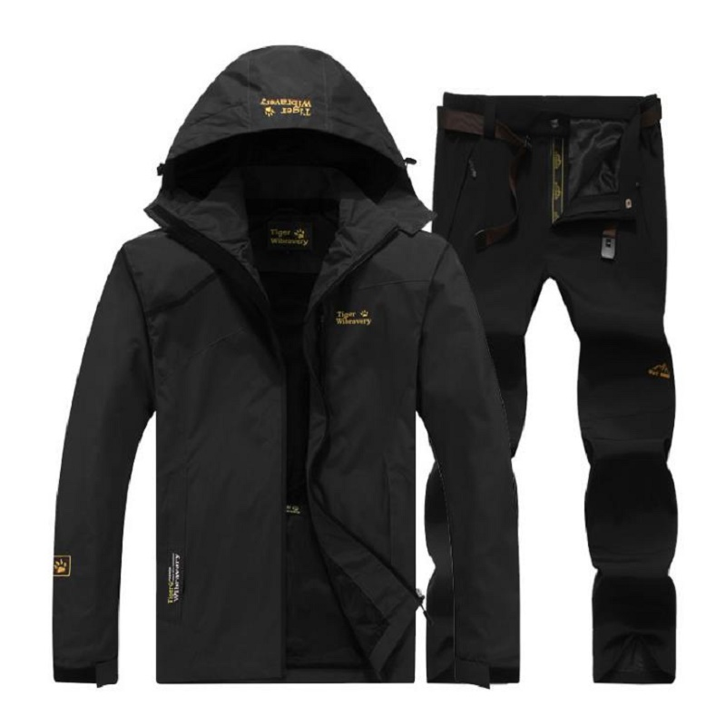 Men Thin section Outdoor Camping Hiking Sports Fast Dry Jacket Pants Suit Men Waterproof Outwear Coat