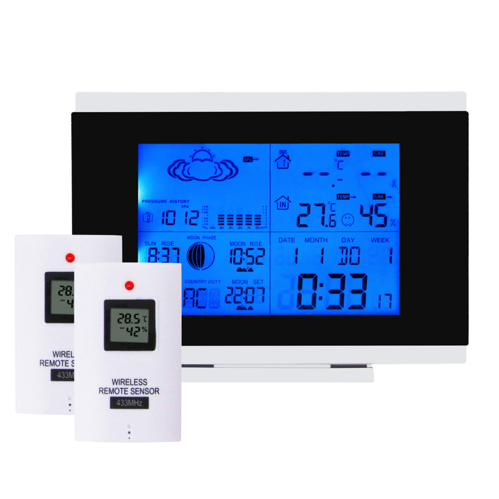 Digital Indoor Outdoor Wireless Weather Station Temperature Humidity RH Date Radio RCC DST F/C Controlled Clock + 2 sensors digital wireless weather station indoor outdoor thermometer temperature humidity w rcc radio controlled clock 2 remote sensor