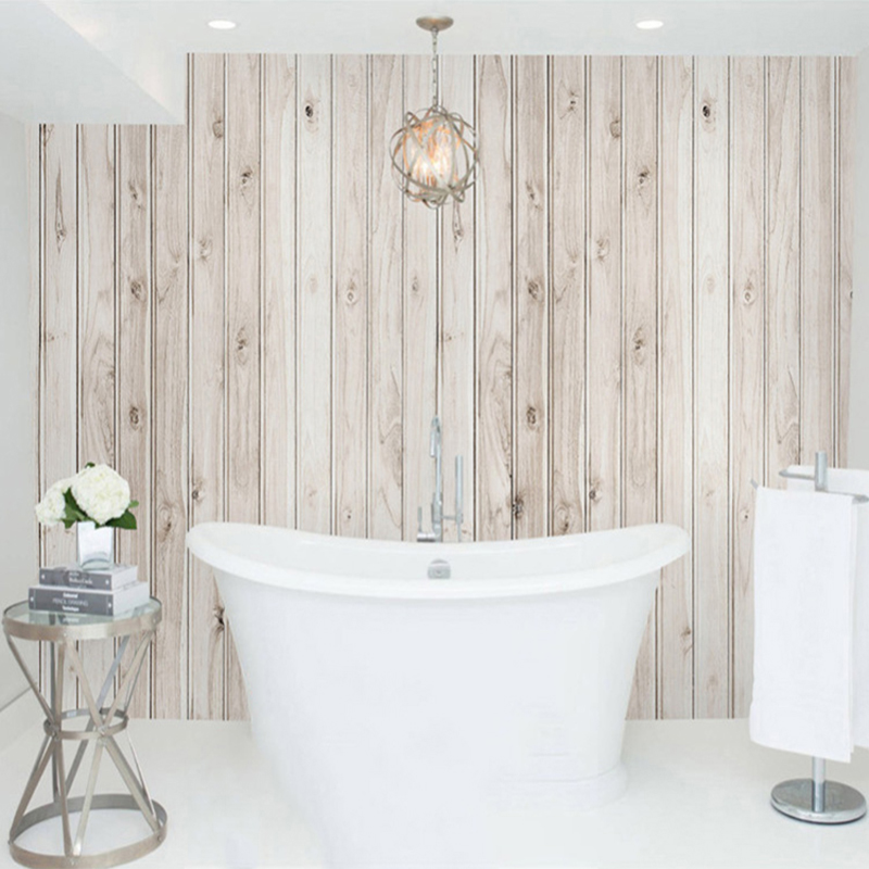 Modern Bathroom Custom 3D Mural Wallpaper Wood Texture Photo Wall PVC Waterproof Self Adhesive Backdrop 3 D Stickers In Wallpapers From Home