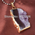UMY Gold Plated Drusy Druzy Irregular Shape Pendant Charm Natural Amethyst Stone Jewelry