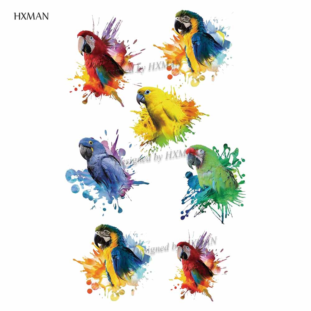 HXMAN Parrot Women Temporary Tattoo Sticker Tattoos For Men Fashion Body Art Kids Children Hand Fake Tatoo 9.8X6cm A-225
