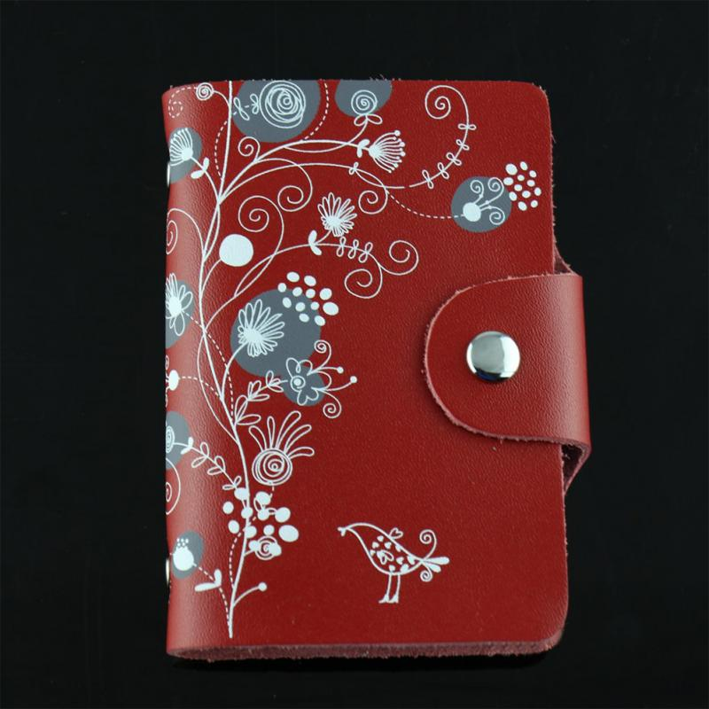 4 Colors Floral Pattern Business Card Holder Purse Leather
