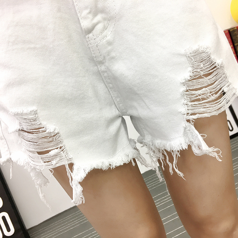 broken holes women 2019 summer irregularly jeans korean style high waist female black white cowboy shorts denim pants in Jeans from Women 39 s Clothing