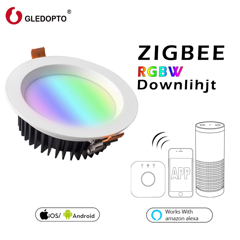 GLEDOPTO ZIGBEE ZLL smart 9W LED RGBW RGB downlight APP controller with Amazon plus LED bulb rgb zll dimmable light AC100-240V zigbee zll link smart strip light rgb rgbw controller dc12v 24v zigbee rgb app control compatible with led echo gledopto led rgb