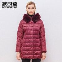 BOSIDENG Winter Jacket Women down Coat Womens rabbit Fur Hooded Duck Down Coats Women Loose Long smooth Fur Coat B1501258B