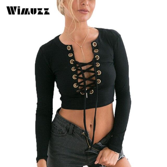 Wimuzz Lace Up Crop Top de Punto Mujer de Manga Larga Atractiva Corta Camiseta Recortada Tops Bustier Otoño Invierno Negro