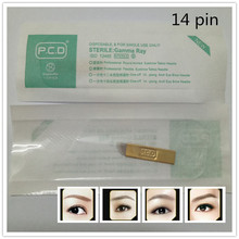 50 Pcs 14 Pin PCD Permanent Makeup Eyebrow Manual Tattoo Needles Single Package