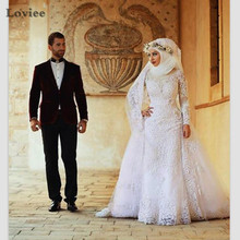 Fashion Saudi Arabic Kaftan Muslim Long Sleeve Lace Mermaid Wedding Dresses 2017 with Hijab Vestido De Noiva