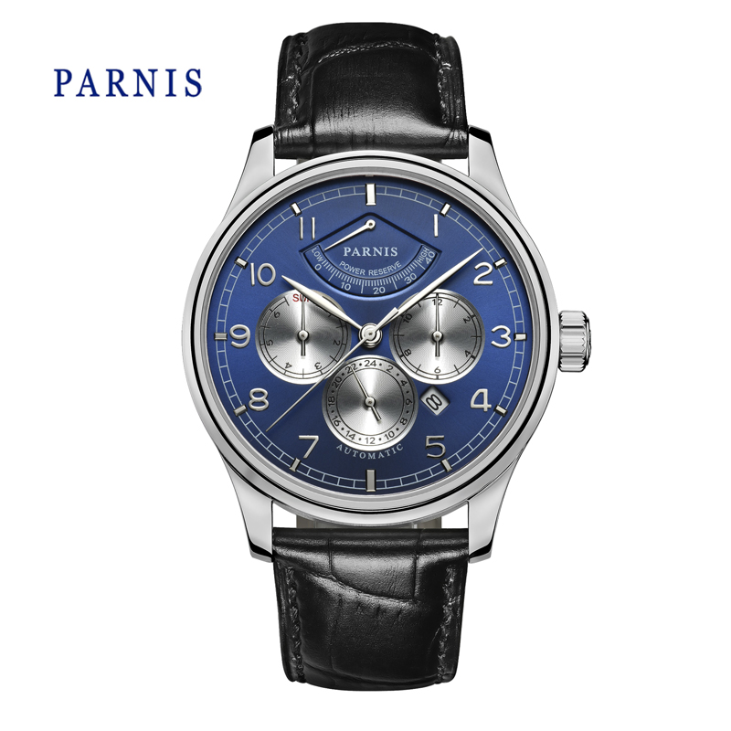 Casual Watch Men 43mm Parnis Automatic Mechanical Watches Power Reserve Blue Dial Silver Case Business Wristwatch Auto Date