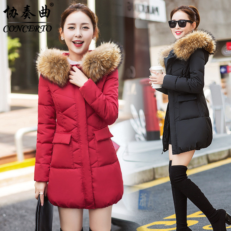 2017 winter women new large fur collar slim cotton-padded jacket fashion outerwear with a hood medium-long wadded down jacket linenall women parkas loose medium long slanting lapel wadded jacket outerwear female plus size vintage cotton padded jacket ym