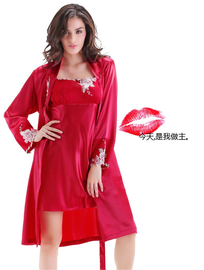 Red Satin Silk Robes and Silk Nightgown Sets for Women not knot