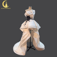 JIALINZEYI סקסי סטרפלס סטרפלס גבוה סאטן עם תחרה שחורה פרחים שפתוחה קצר ארוך חזרה שמלות כלה שמלת כלה 2018