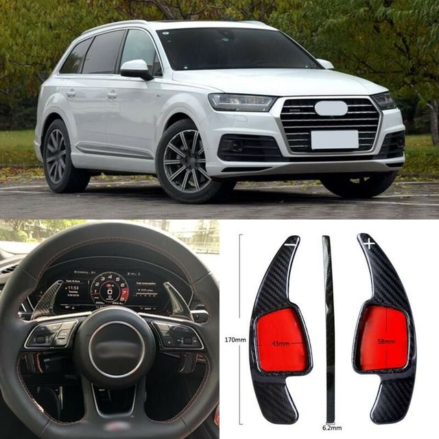 $ 102.45 Carbon Fiber Gear DSG Steering Wheel Paddle Shifter Cover Fit For Audi Q7 2016-2018